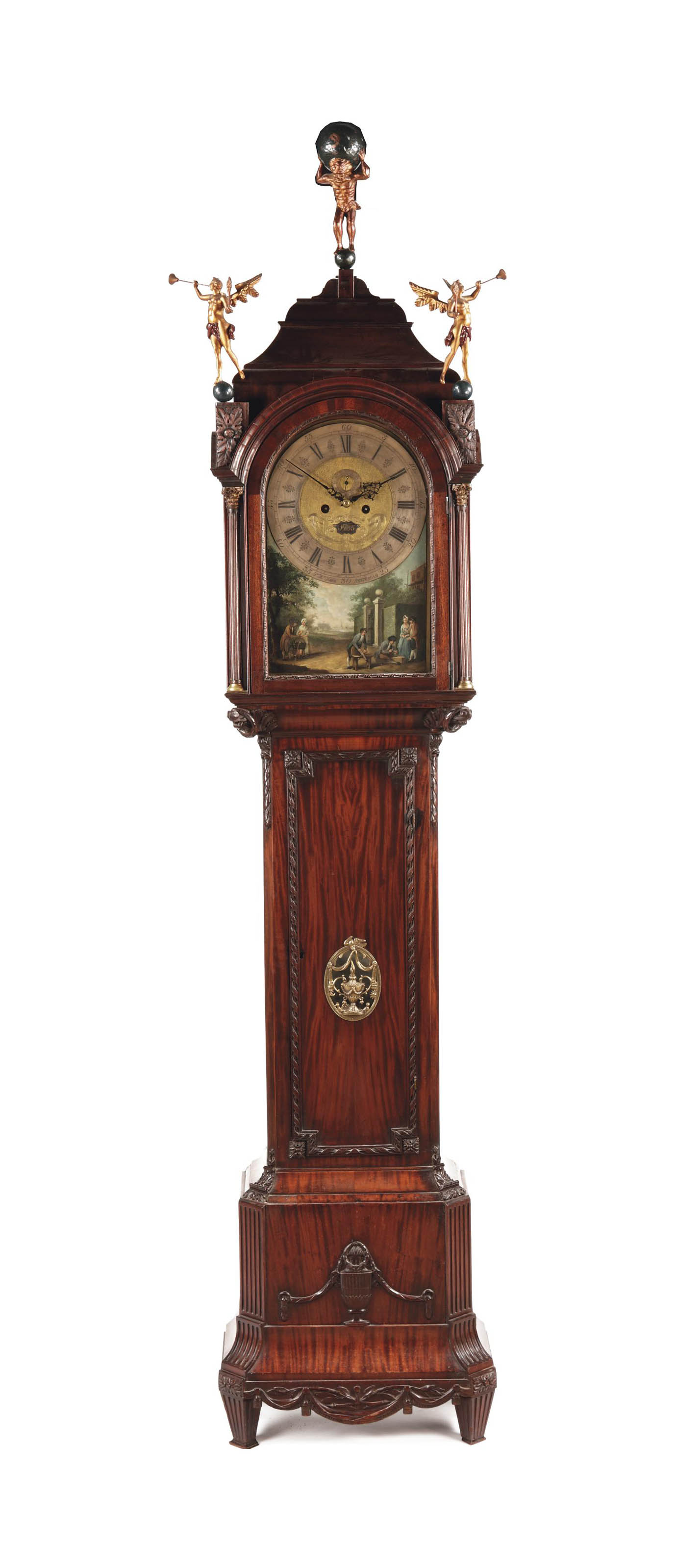A Dutch carved mahogany musical longcase clock with automaton