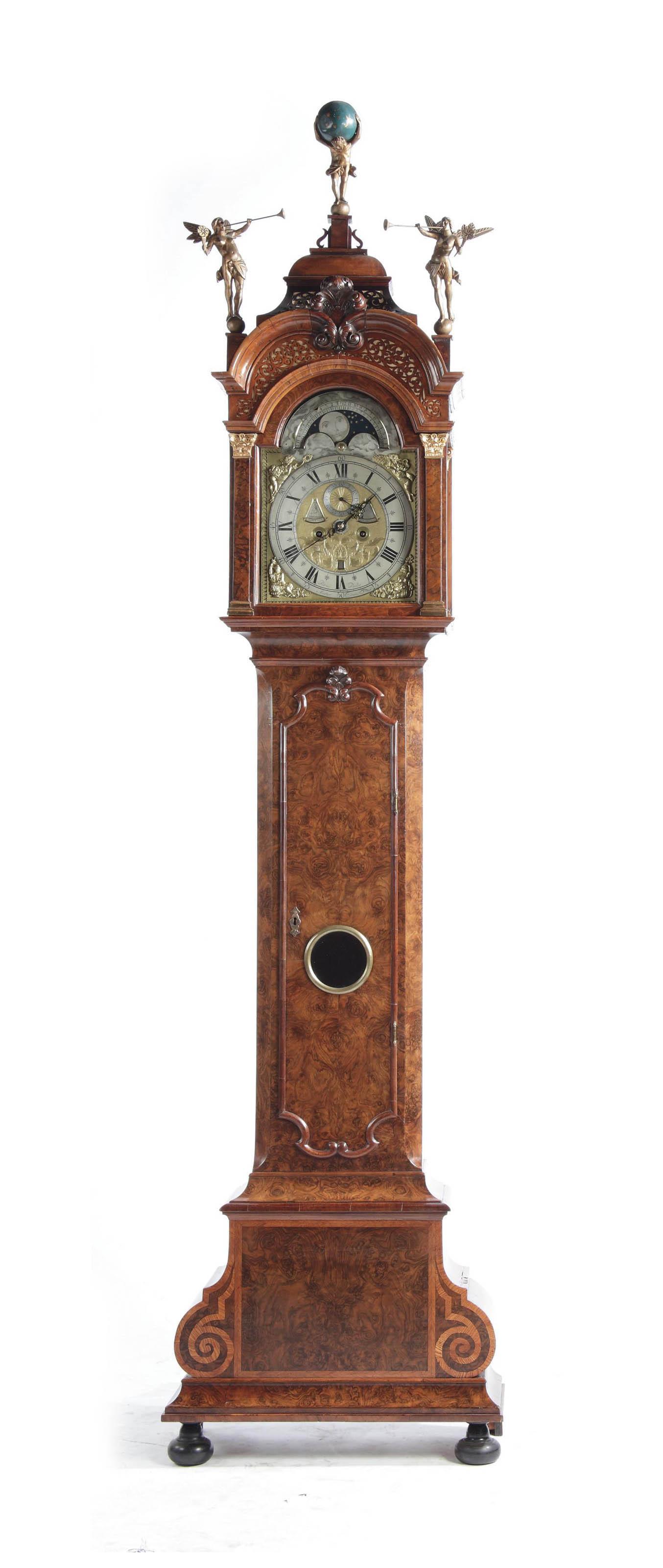 A DUTCH BURR-WALNUT AND FRUITWOOD INLAID LONGCASE CLOCK