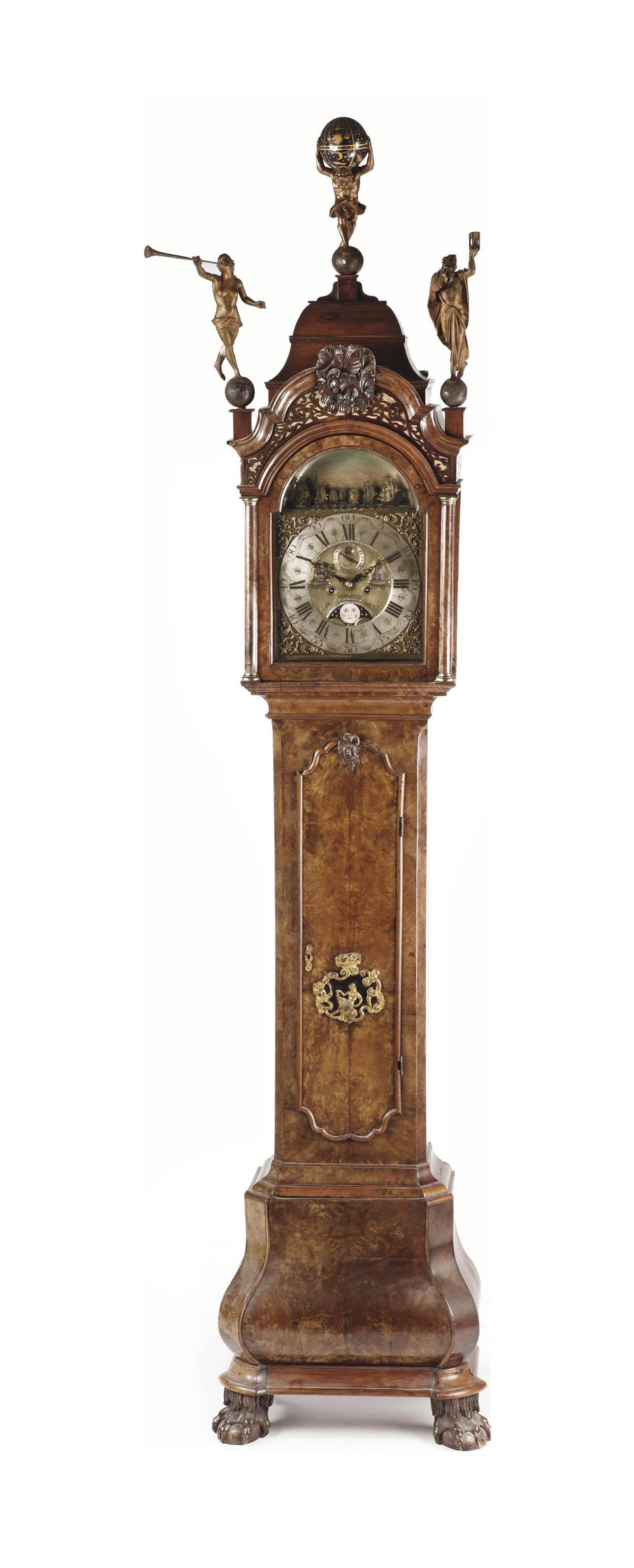 A Dutch walnut and burr-walnut longcase clock with ships automaton 'Scheepjesmechaniek'
