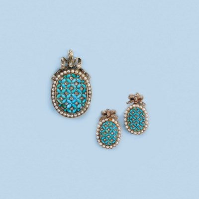 A SUITE OF ANTIQUE TURQUOISE,