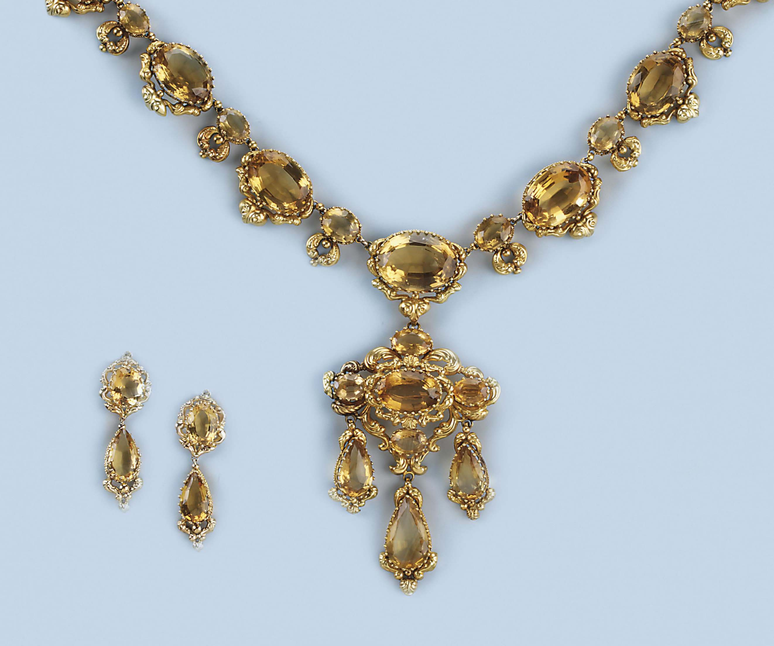 An Antique Citrine Necklace And