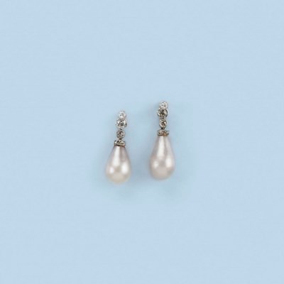 A PAIR OF NATURAL PEARL EARRIN