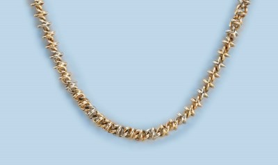 A TWO COLOUR GOLD NECKLACE AND