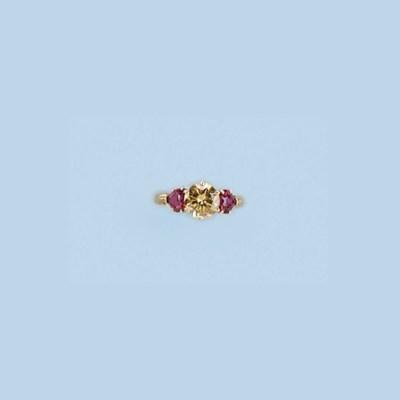 A COLOURED DIAMOND AND RUBY RI
