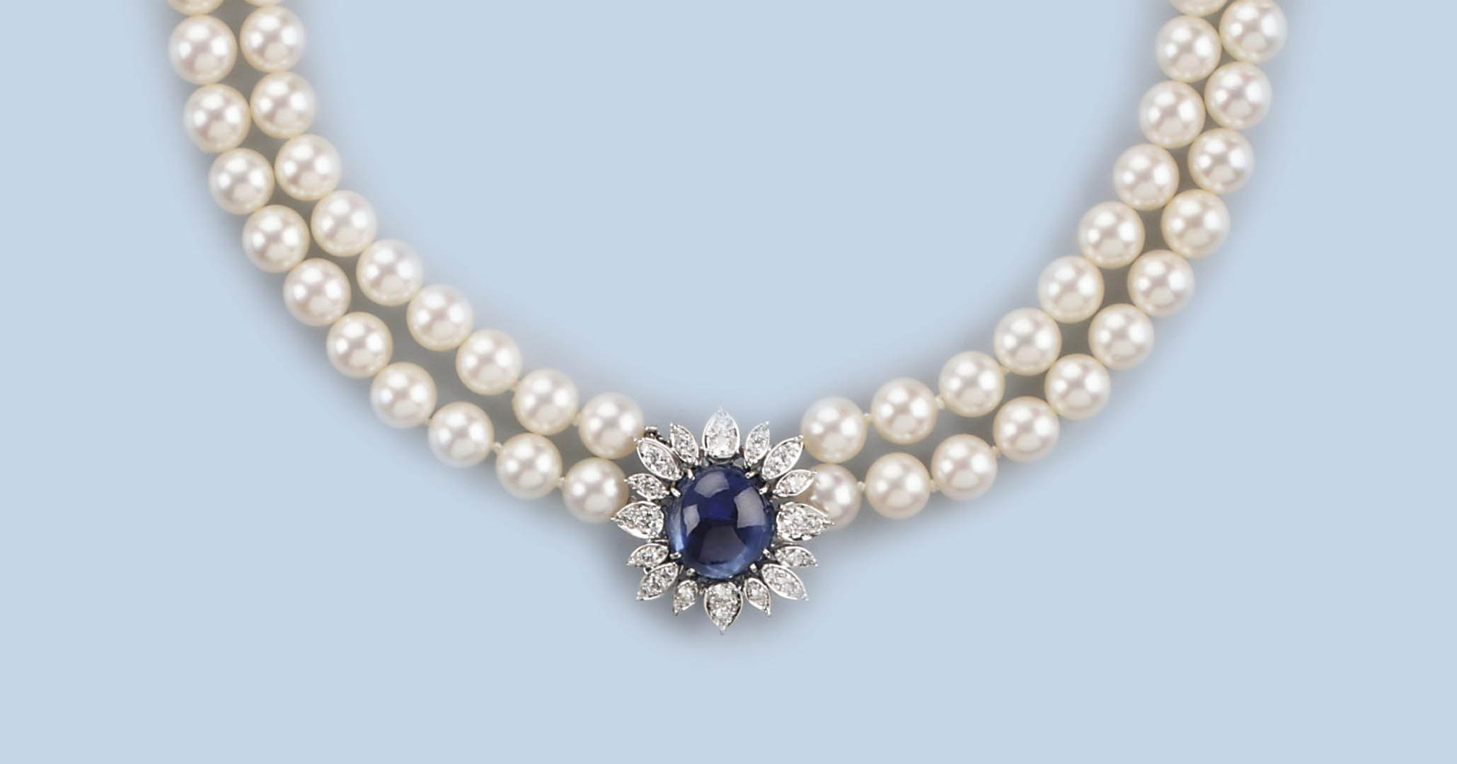 A CULTURED PEARL, DIAMOND AND SAPPHIRE NECKLACE