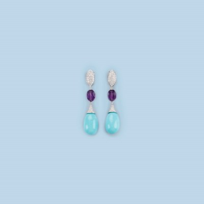A PAIR OF TURQUOISE, AMETHYST