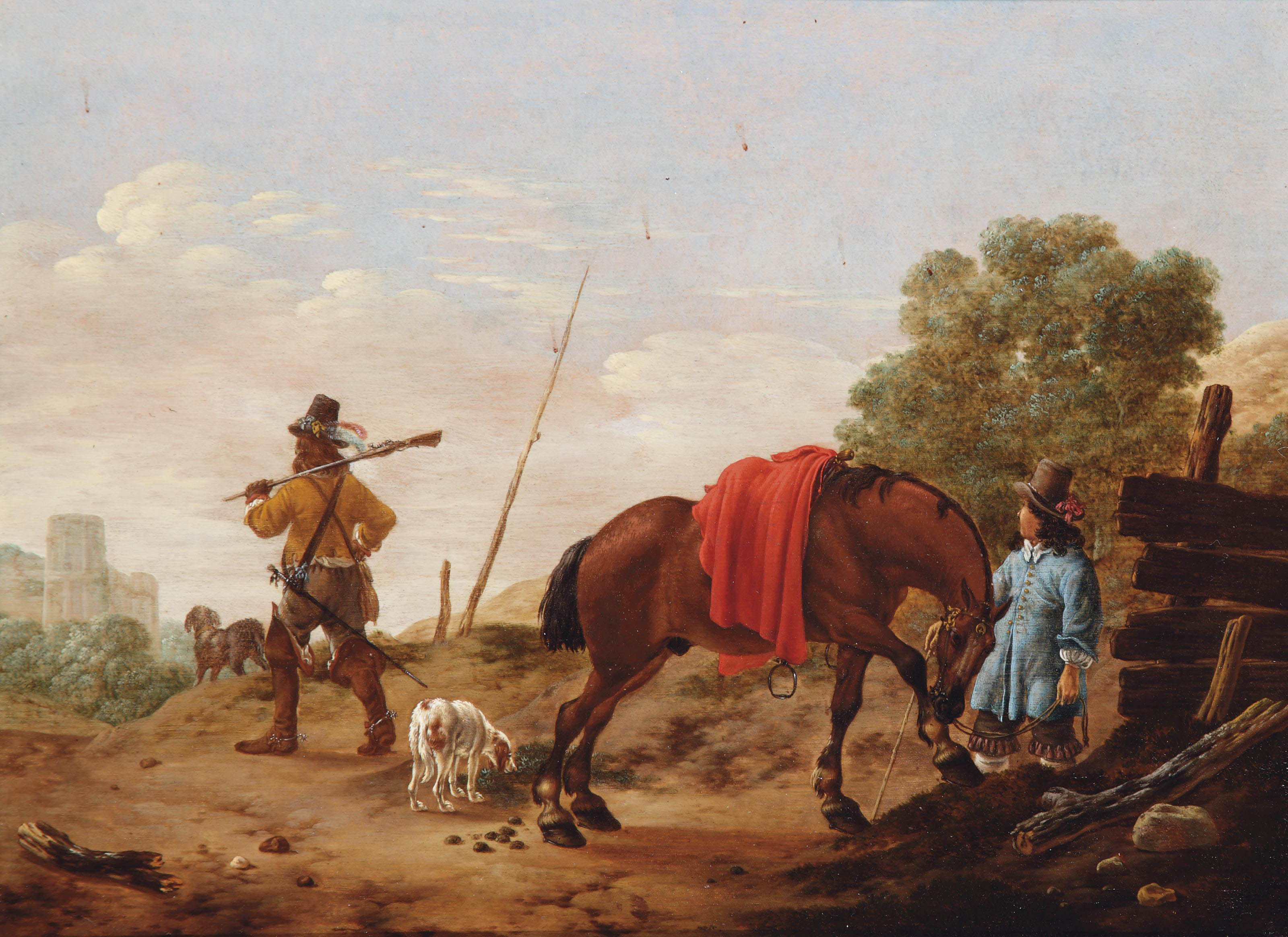 A landscape with huntsmen, a horse and dogs near a fence