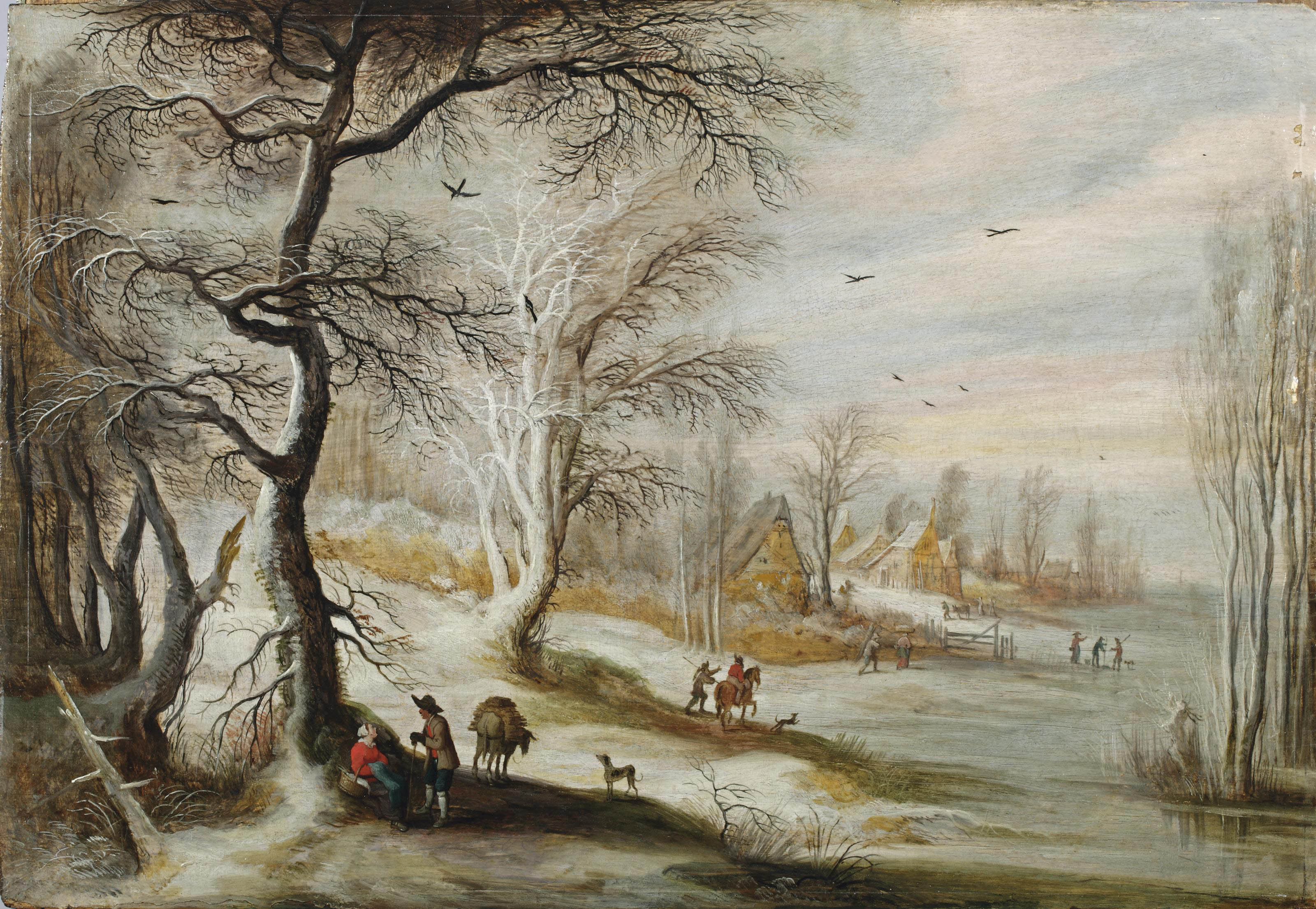 A winter landscape with a woman and woodmen on a wooded track, a village beyond
