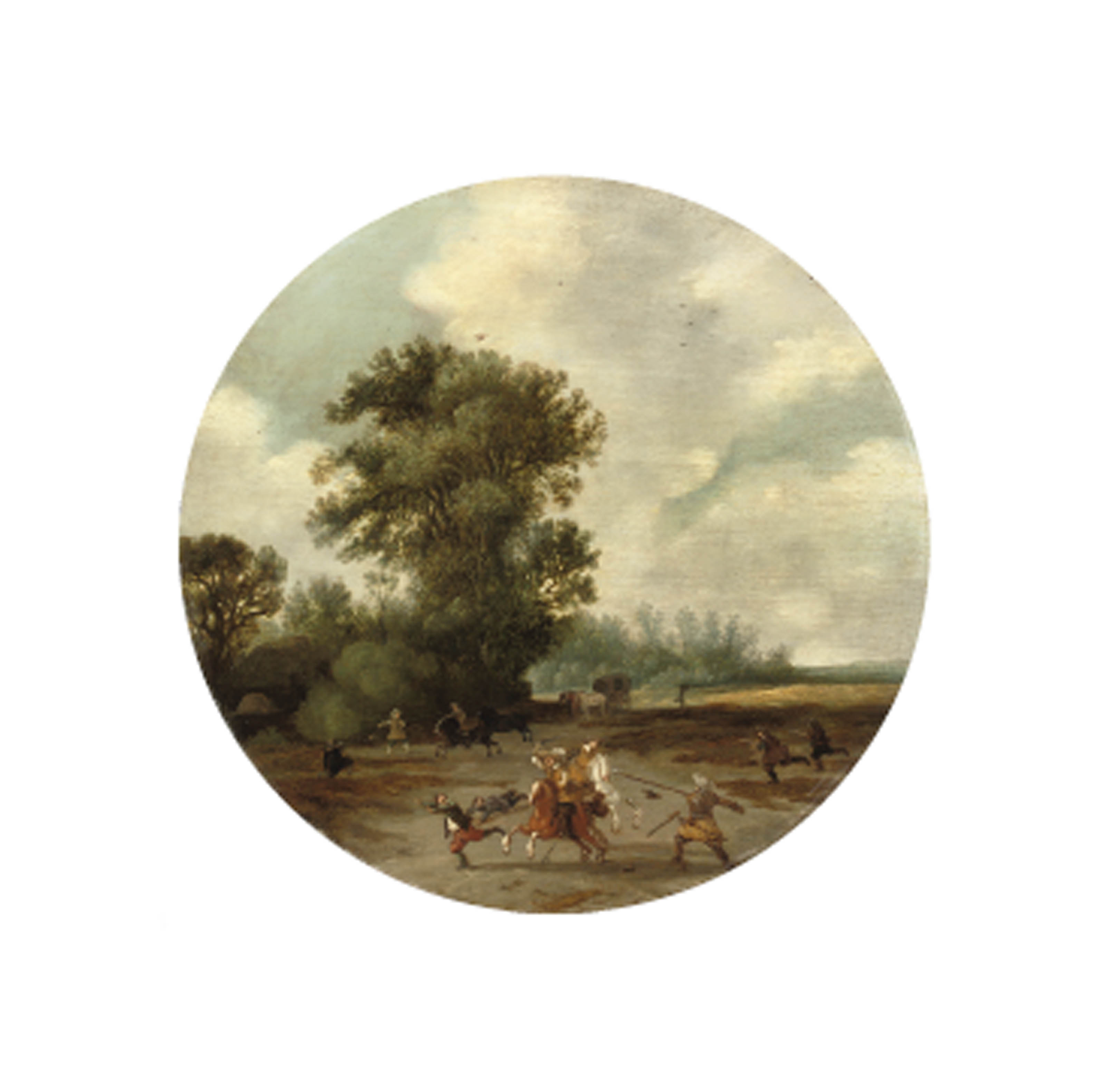 A landscape with a skirmish in the foreground