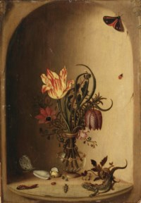A tulip, an anemone, a fritillary and other flowers in a glass vase, together with a lizard and insects in a niche