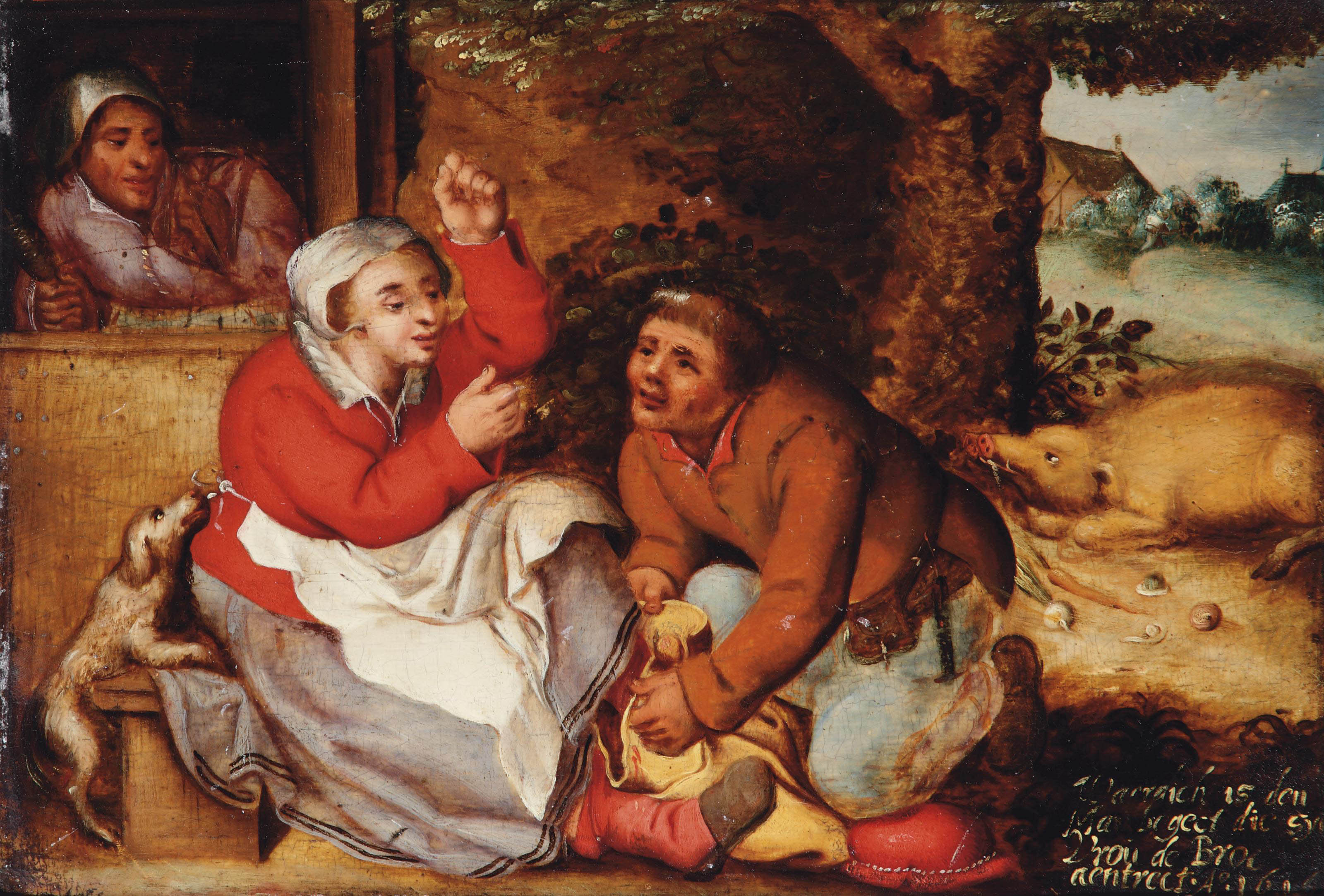 A peasant couple together with a pig and a dog near a house with a spinster in a door opening