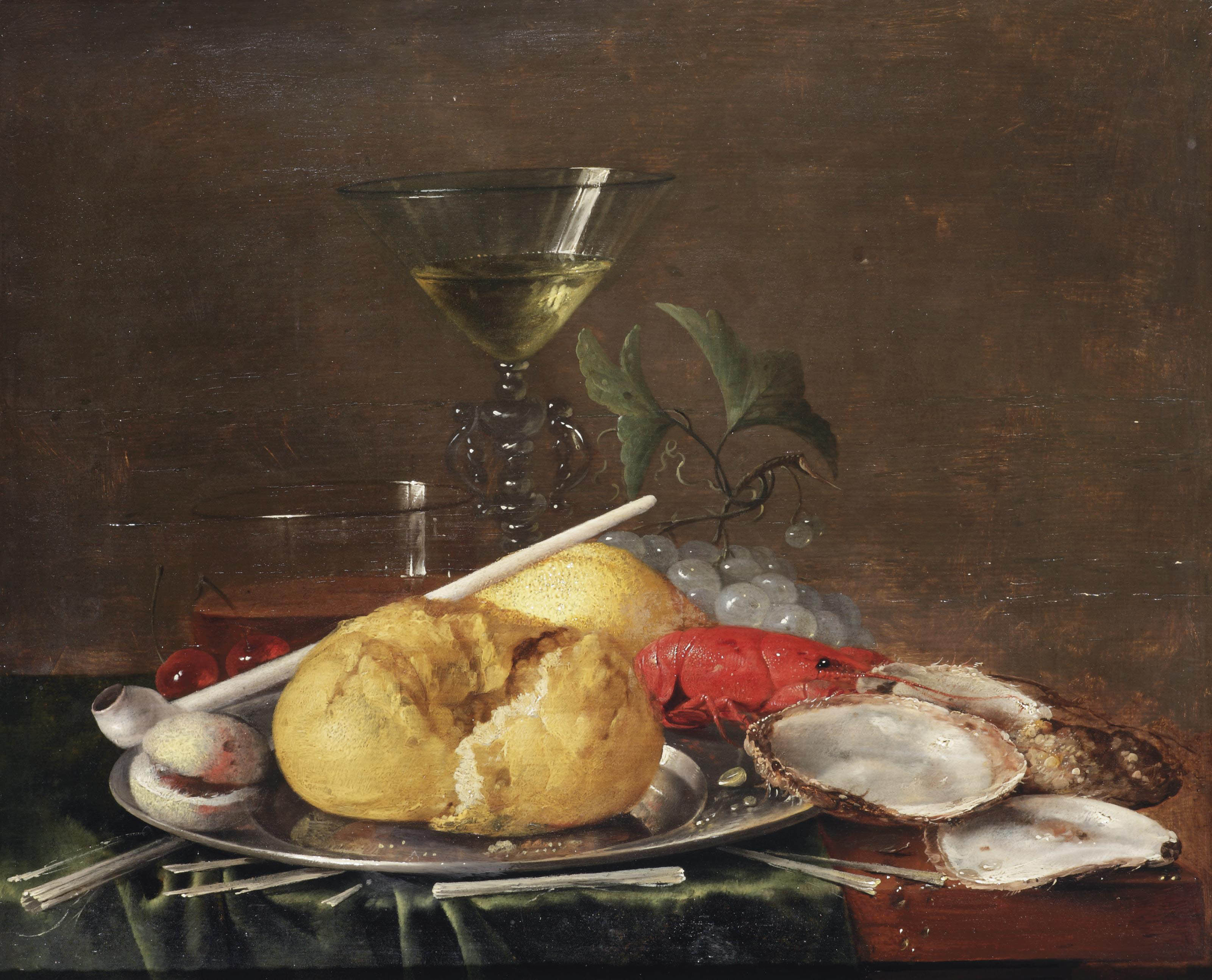 A Façon-de-Venise wine glass, a glass of beer, cherries, a bread roll, an apricot, a clay pipe and a crayfish on a pewter plate, with grapes, oysters and kindling on a partially draped wooden table