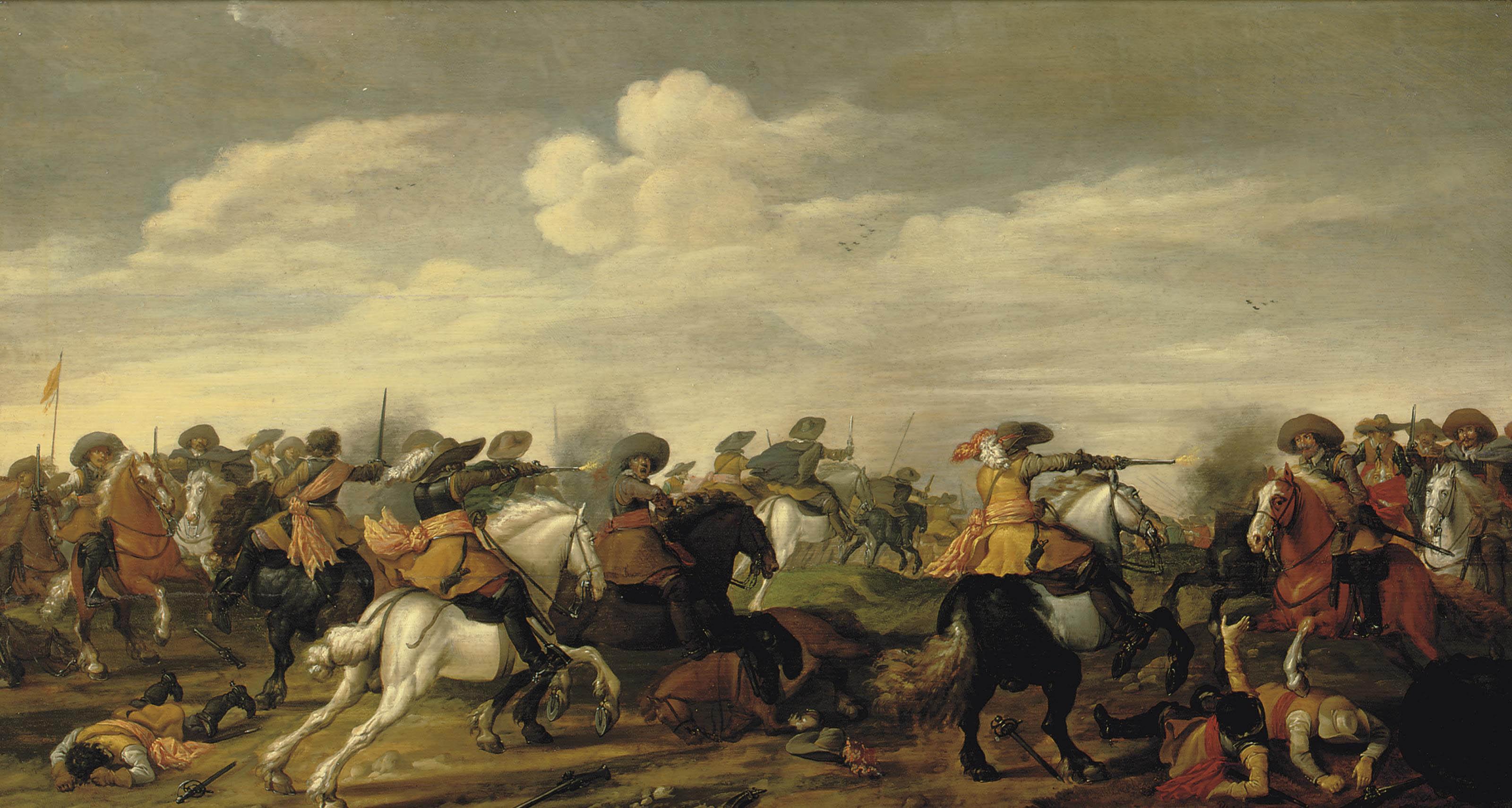 A cavalry skirmish in a landscape