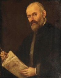 Portrait of a gentleman, half-length, in a dark fur-lined coat, holding a book and pen
