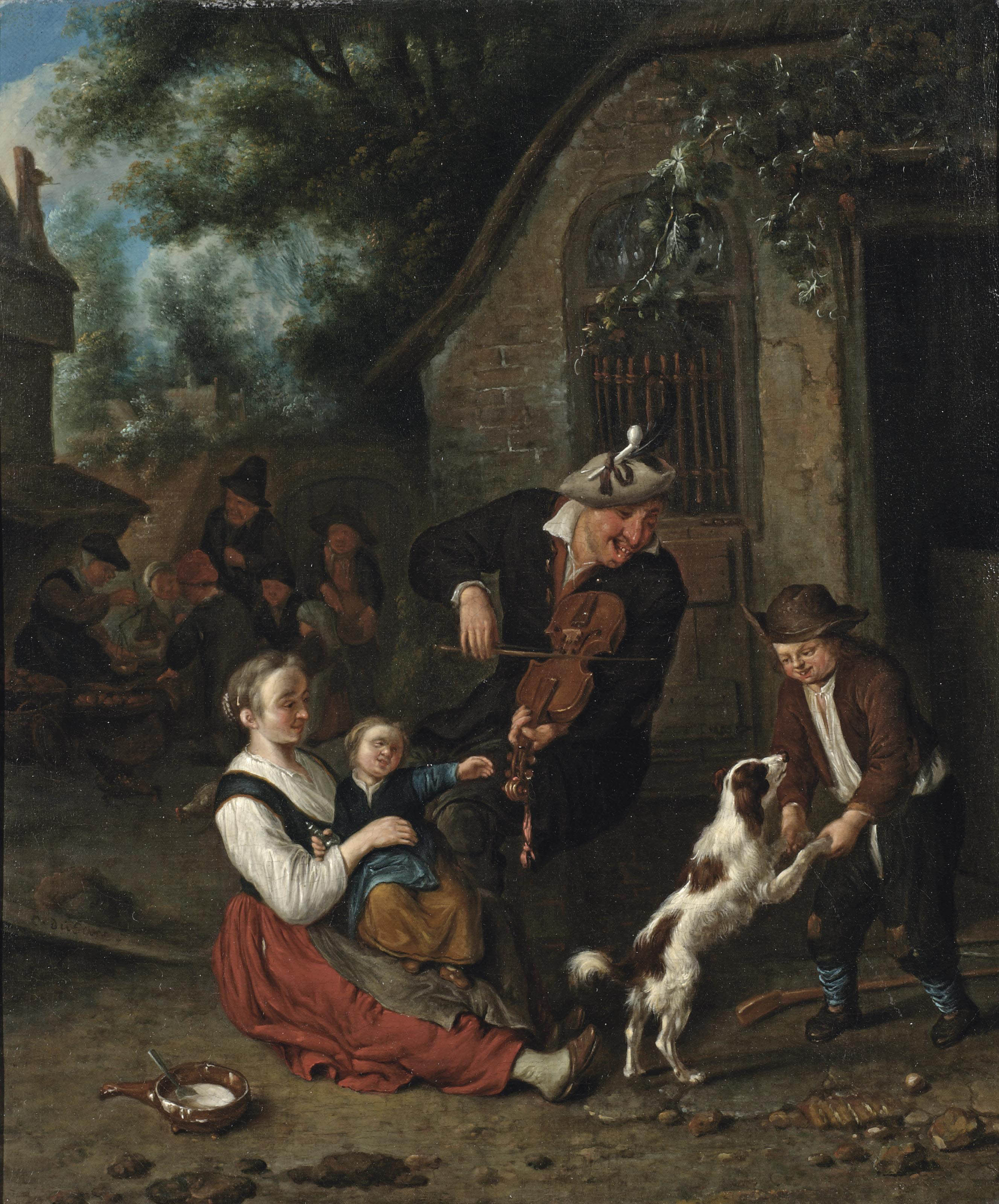 A violin player and other figures merrymaking outside an inn