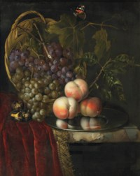 Three peaches on a silver plate, white and black grapes in a wicker basket with a butterfly, together with three roasted chestnuts on a partially draped, marble ledge