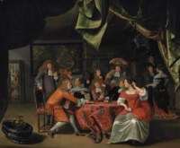 Elegantly dressed figures playing cards at a draped table in an interior