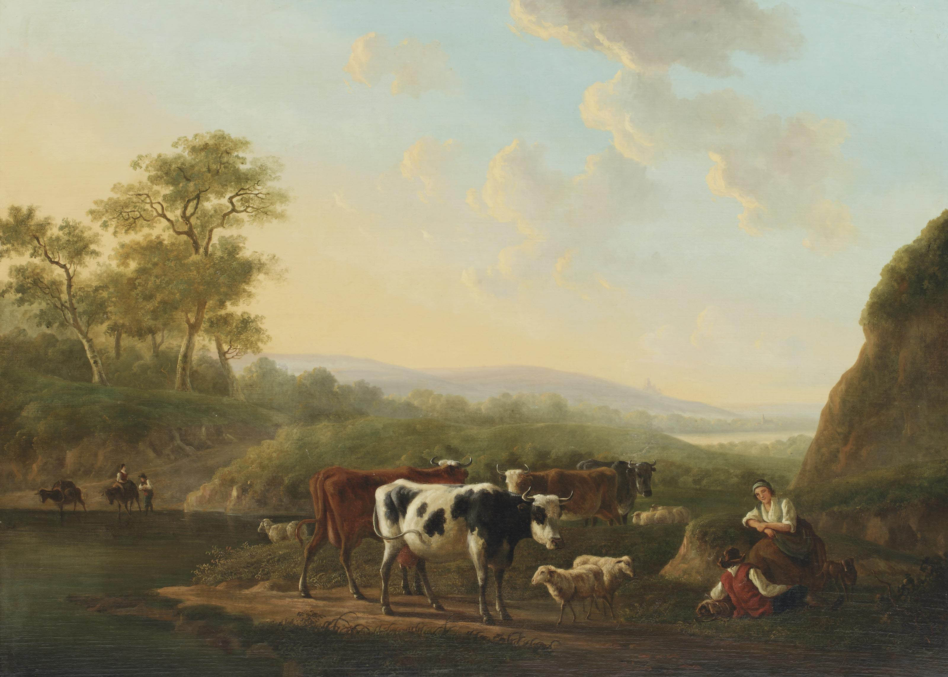 A hilly landscape with a shepherd couple and their cattle on a path