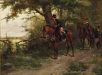11th (Prince Albert's Own) Hussars scouting on a forest path