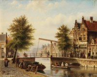 Daily activities along a Dutch canal in summer