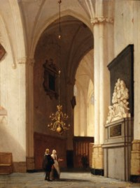 Figures in a church interior