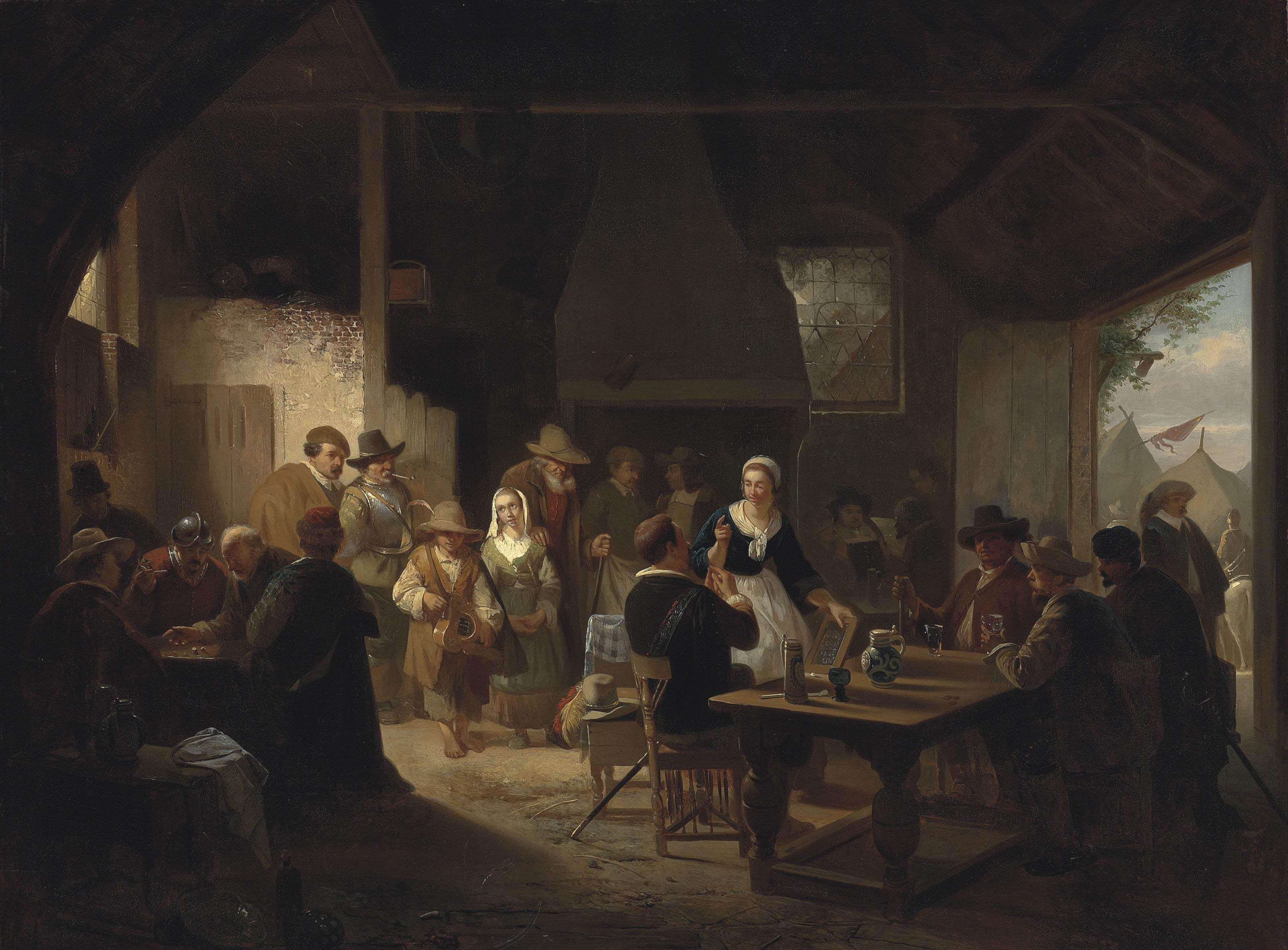 Townspeople making merry in the inn