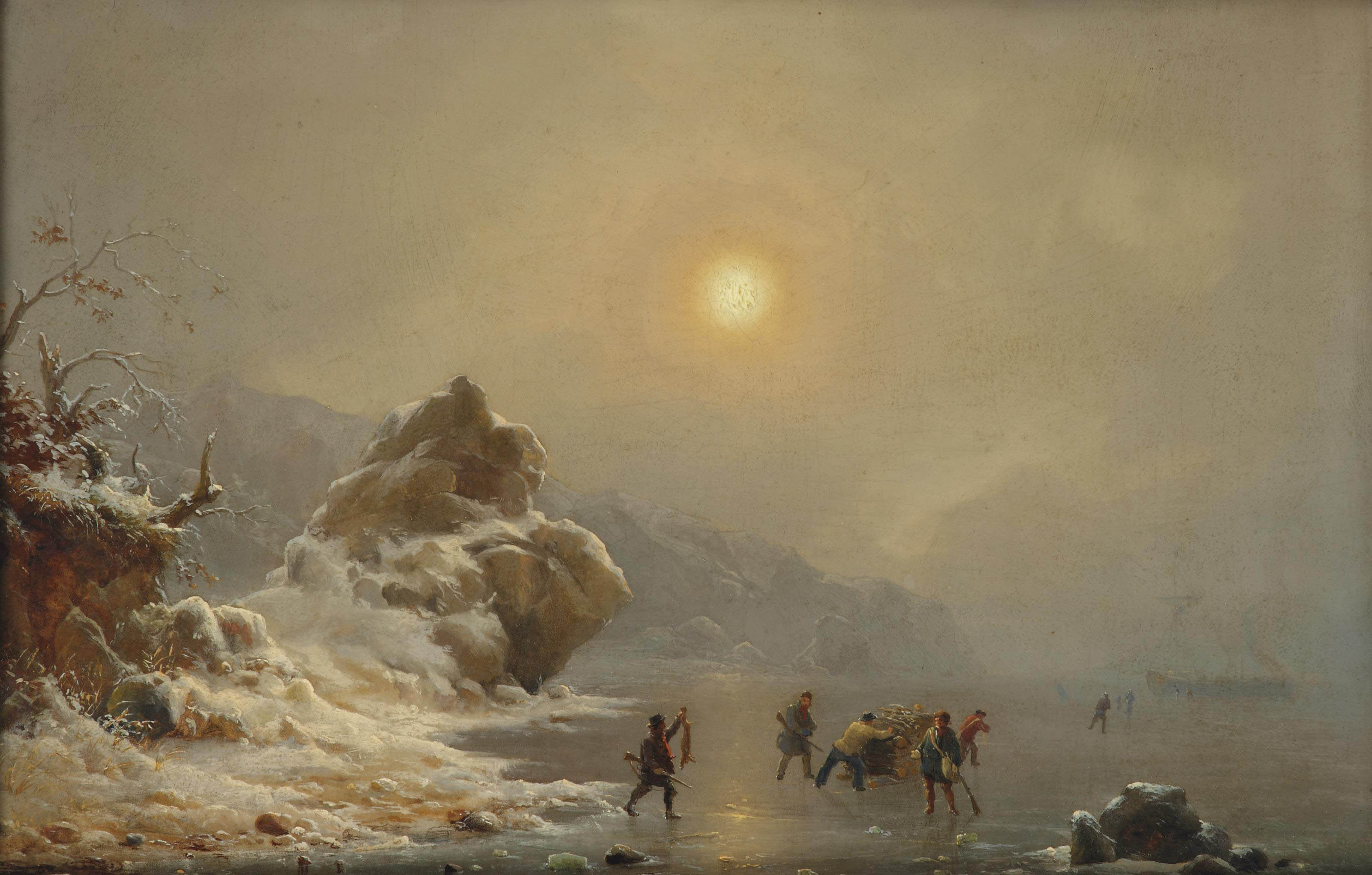 A winter landscape with hunters on the ice