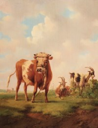 A polder landscape with a bull and two goats
