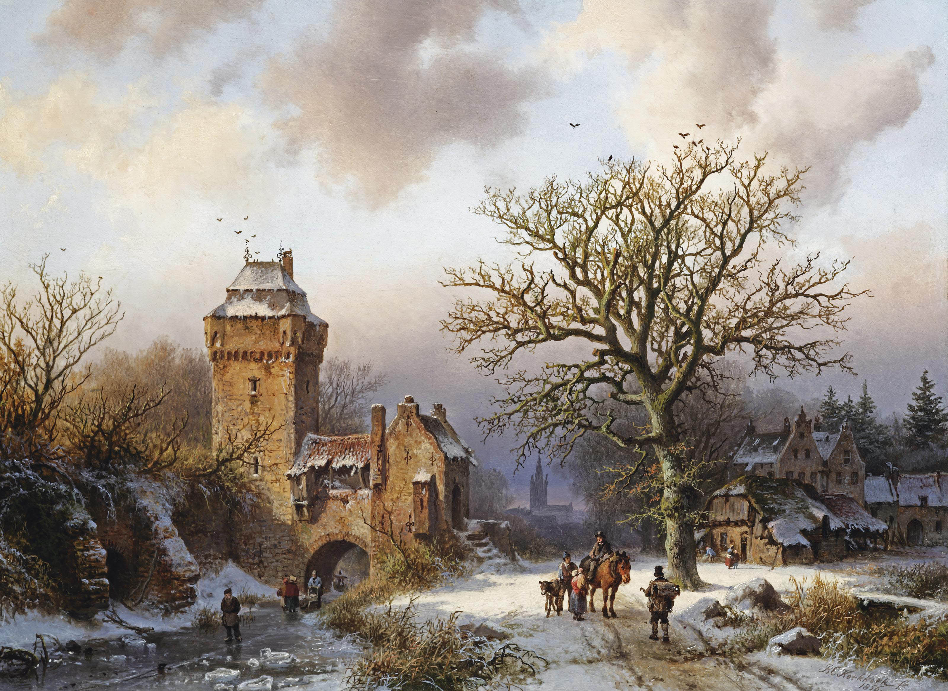 A winter landscape with figures conversing on a snowy path and skaters on a frozen canal at the entrance of a fortified tower