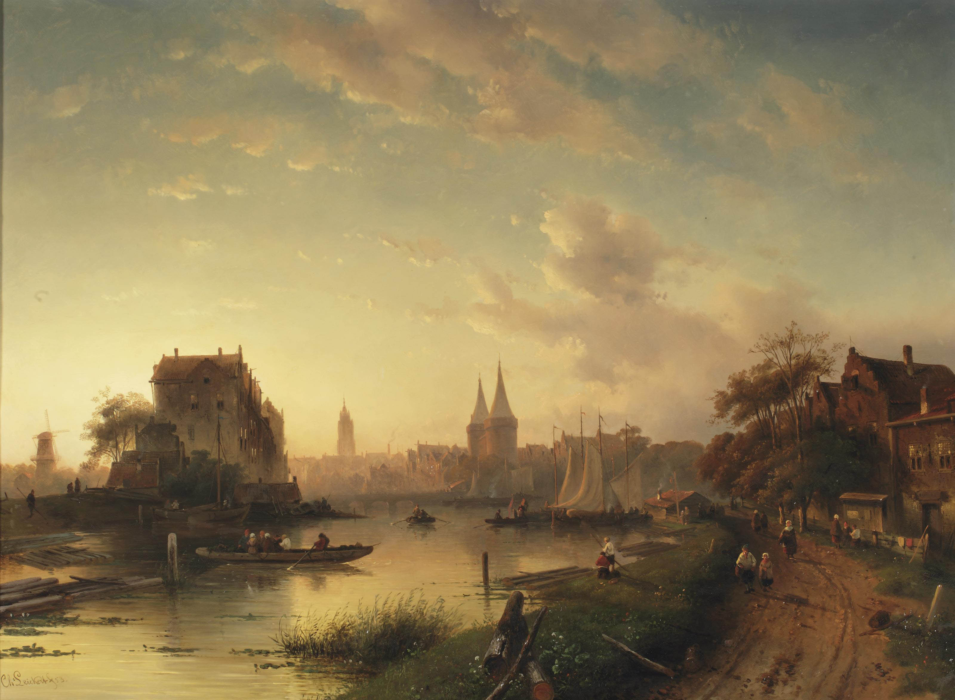 A view of the Oostpoort of Delft at sunset