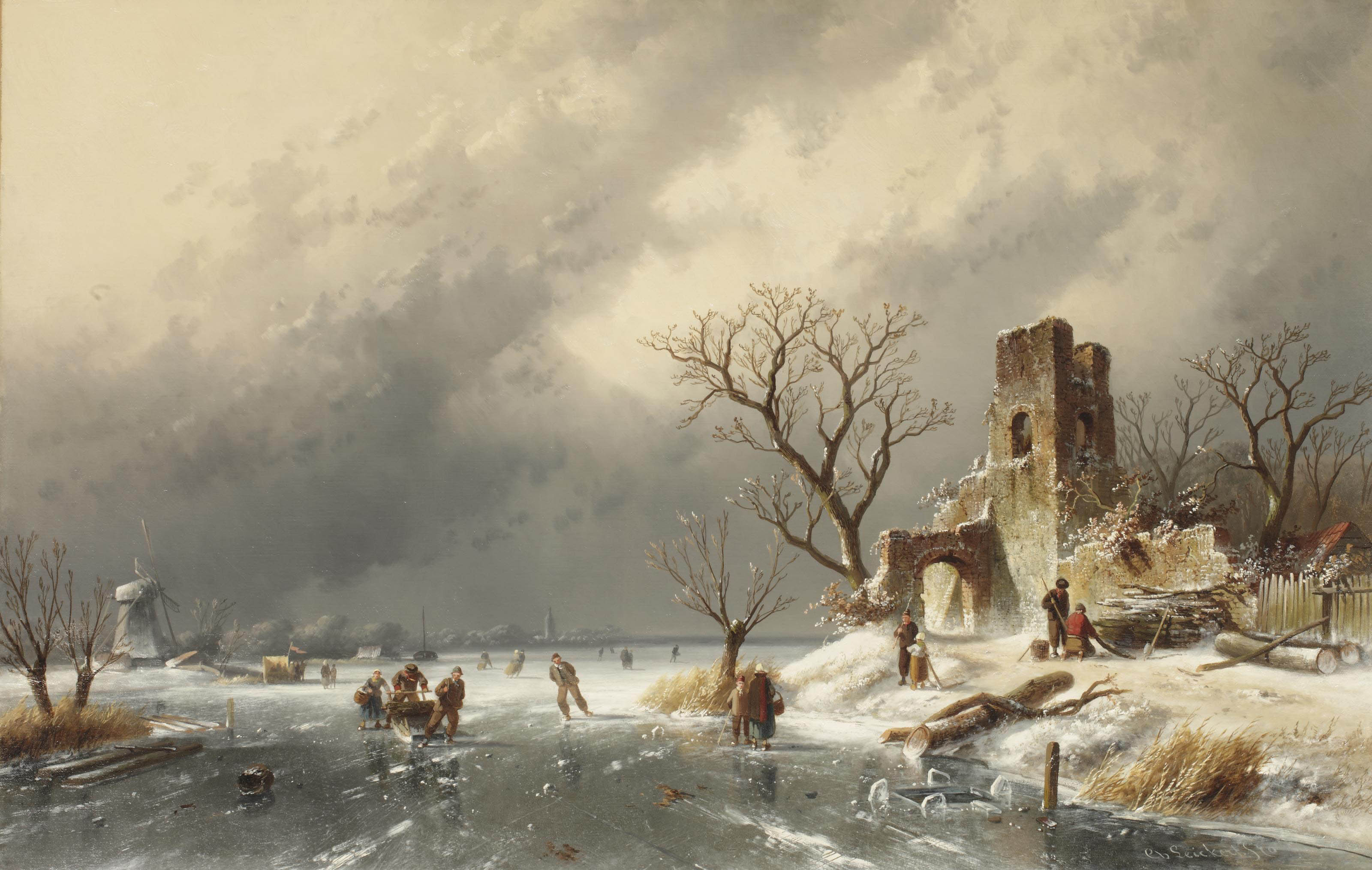 A winter landscape with skaters in the ice