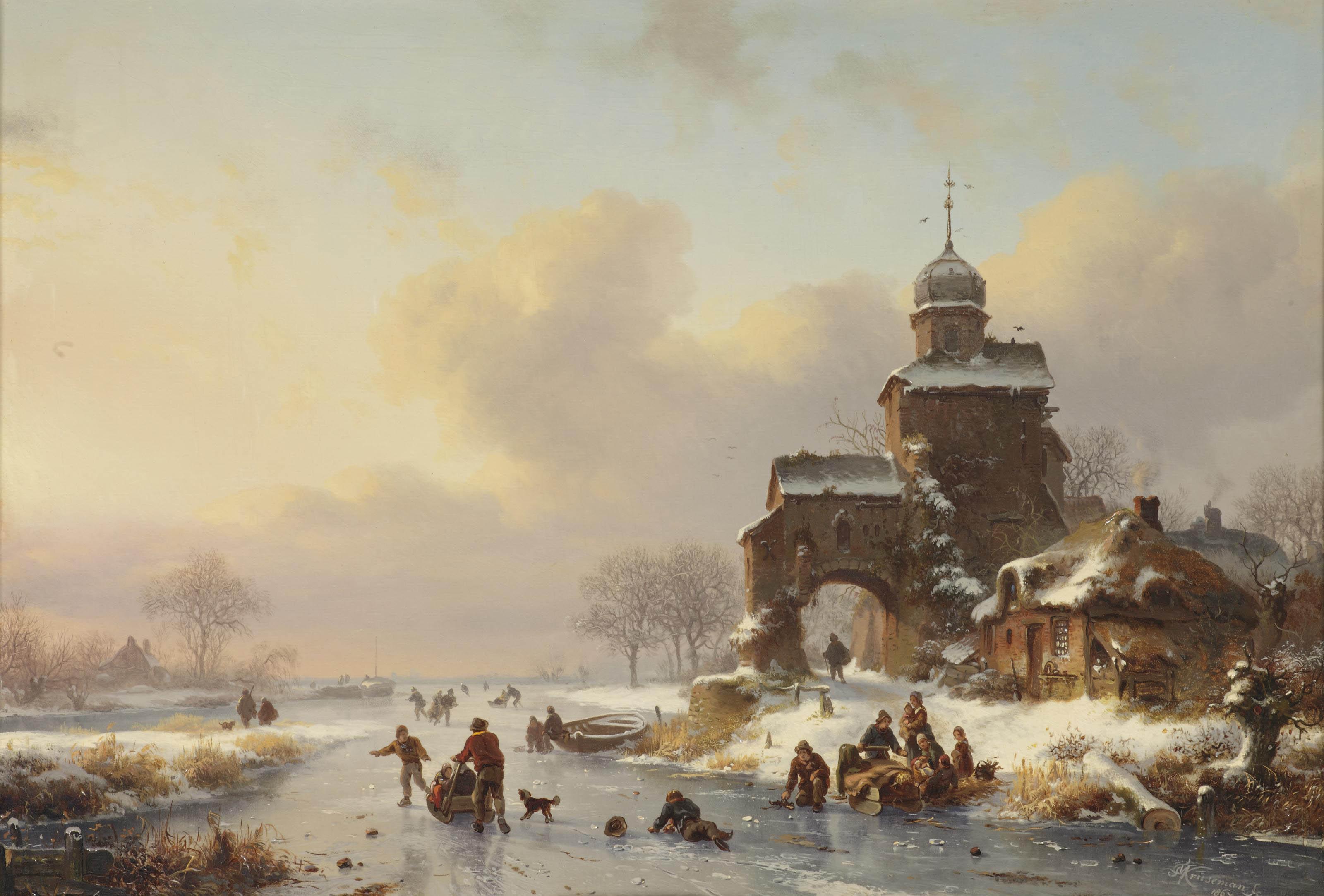 Skaters on a frozen waterway near a castle