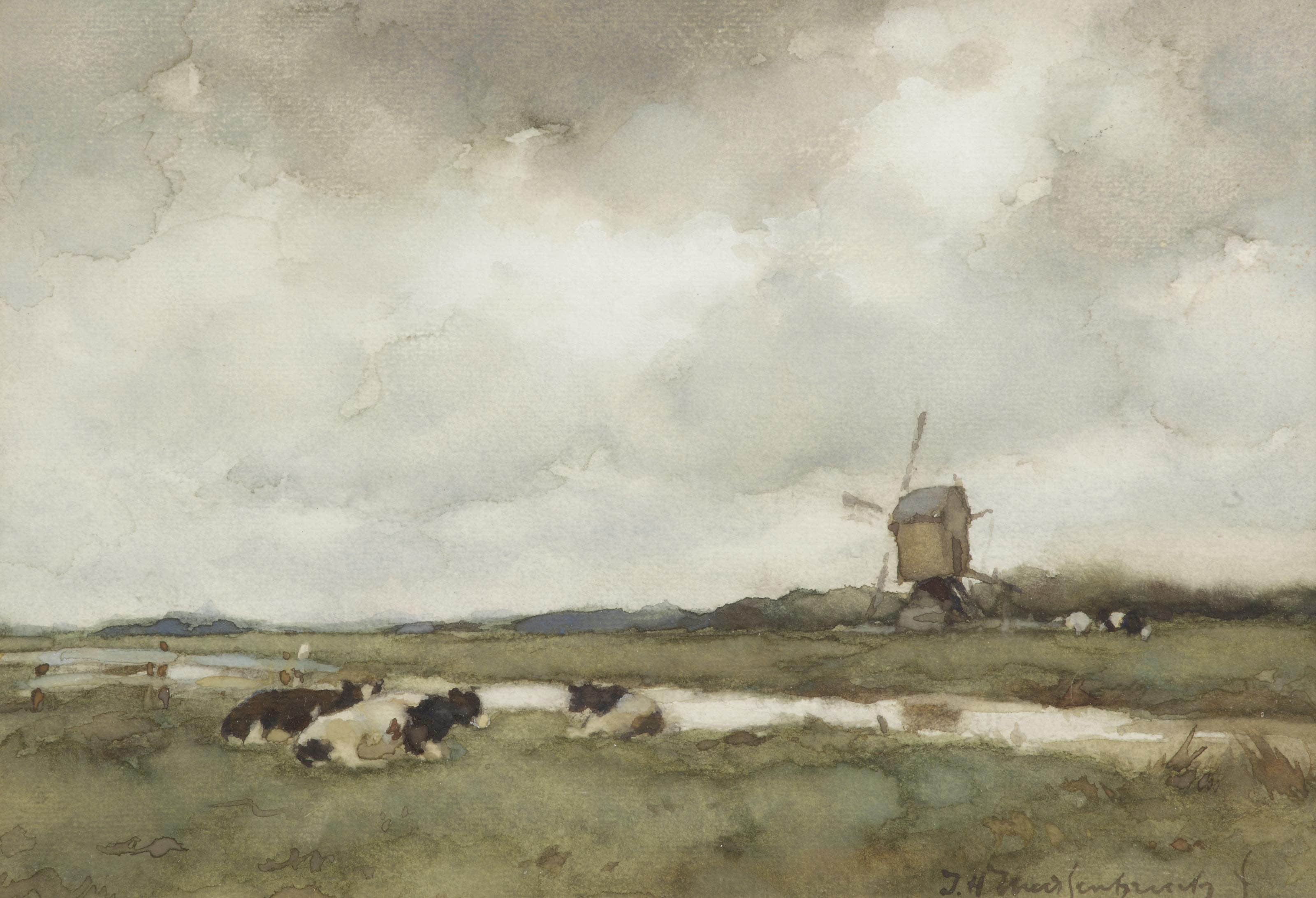 Cows in a Dutch landscape, a wind mill beyond