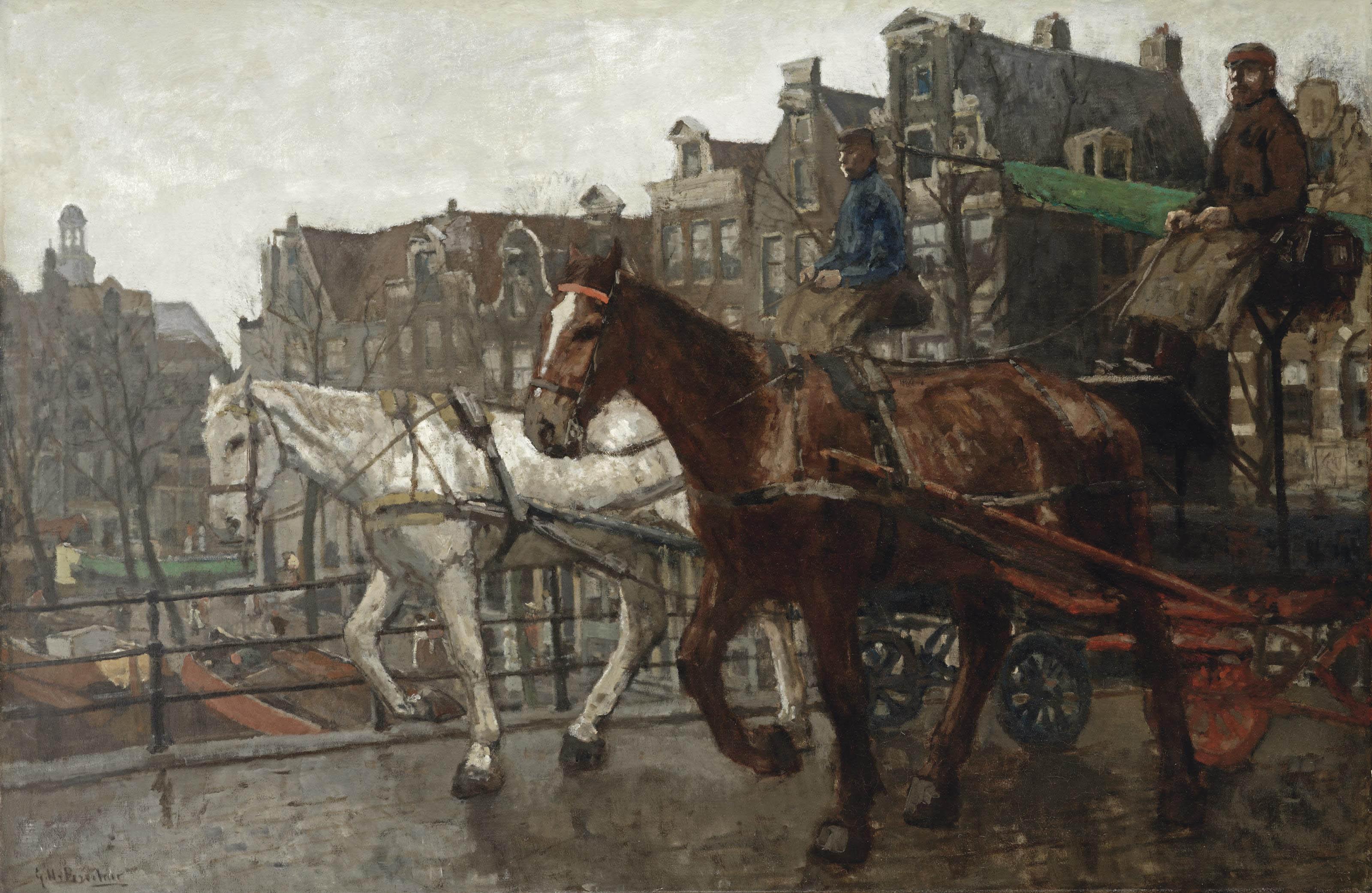 Eenhoornsluis; a view of the Prinsengracht and the Noorderkerk seen from the Eenhoornsluis, Amsterdam