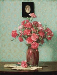 Pink carnations with an ivory fan