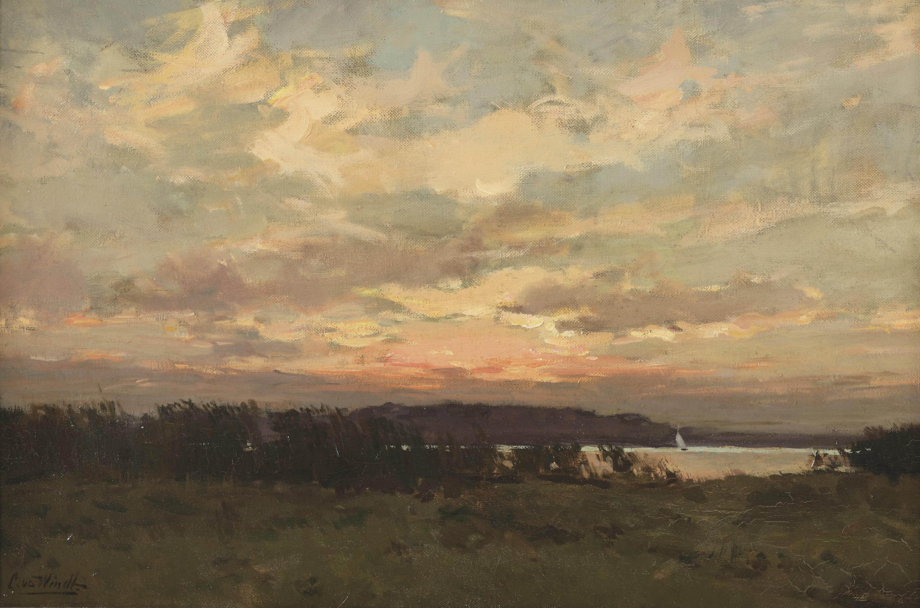 Chris van der windt 1877 1952 sailing at sunset 20th century