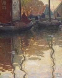 Herfstochtend aan de haven; the harbour of Volendam