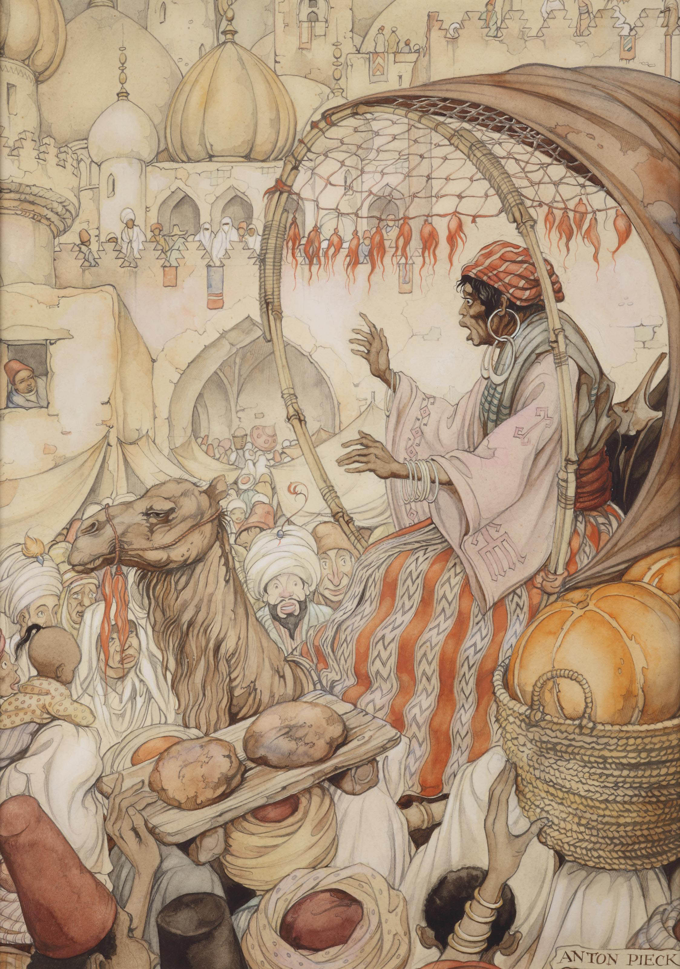 From 1001 Arabian nights; the story of The return of Kanmakan in Bagdad