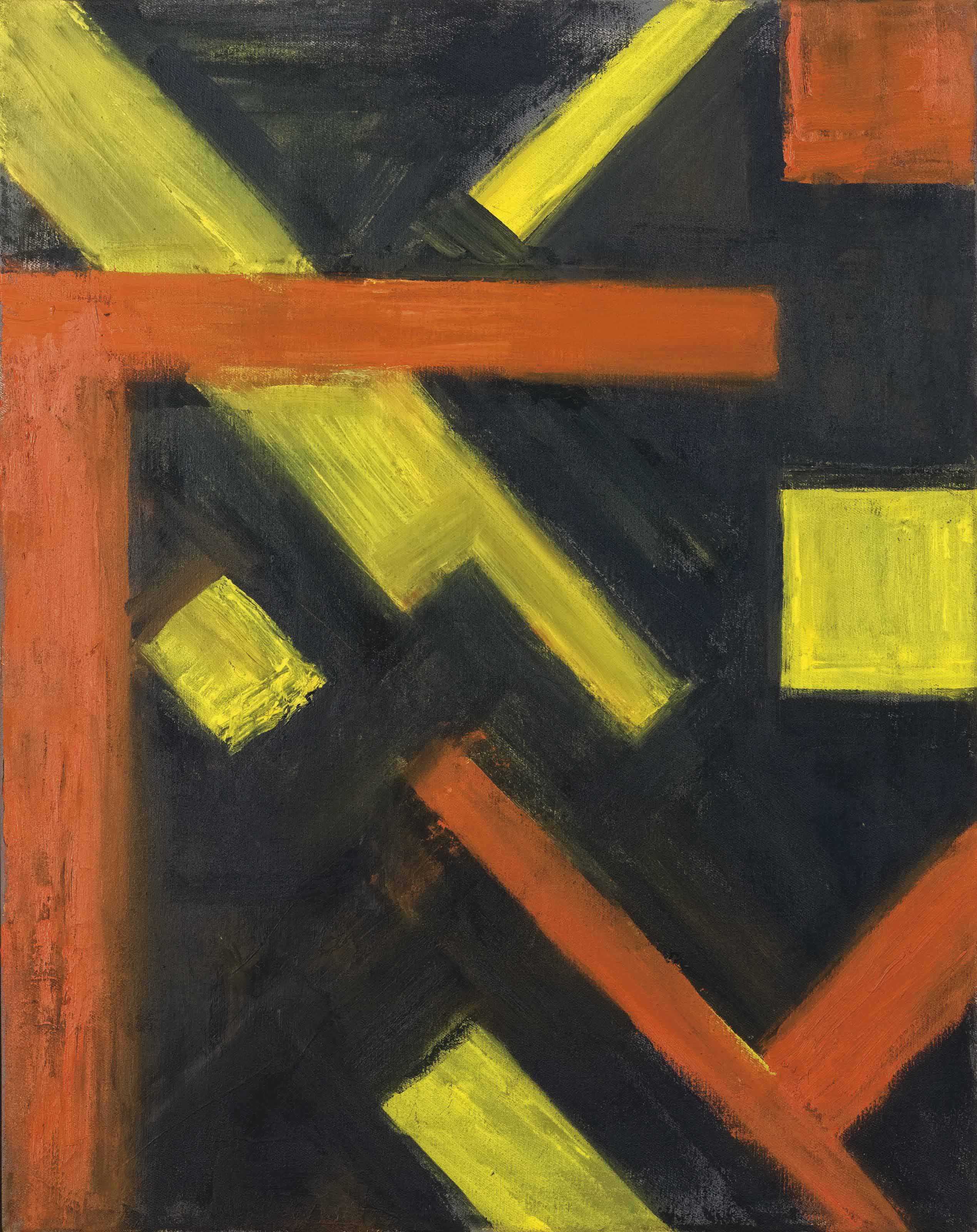 Geometrical work in yellow, red & black