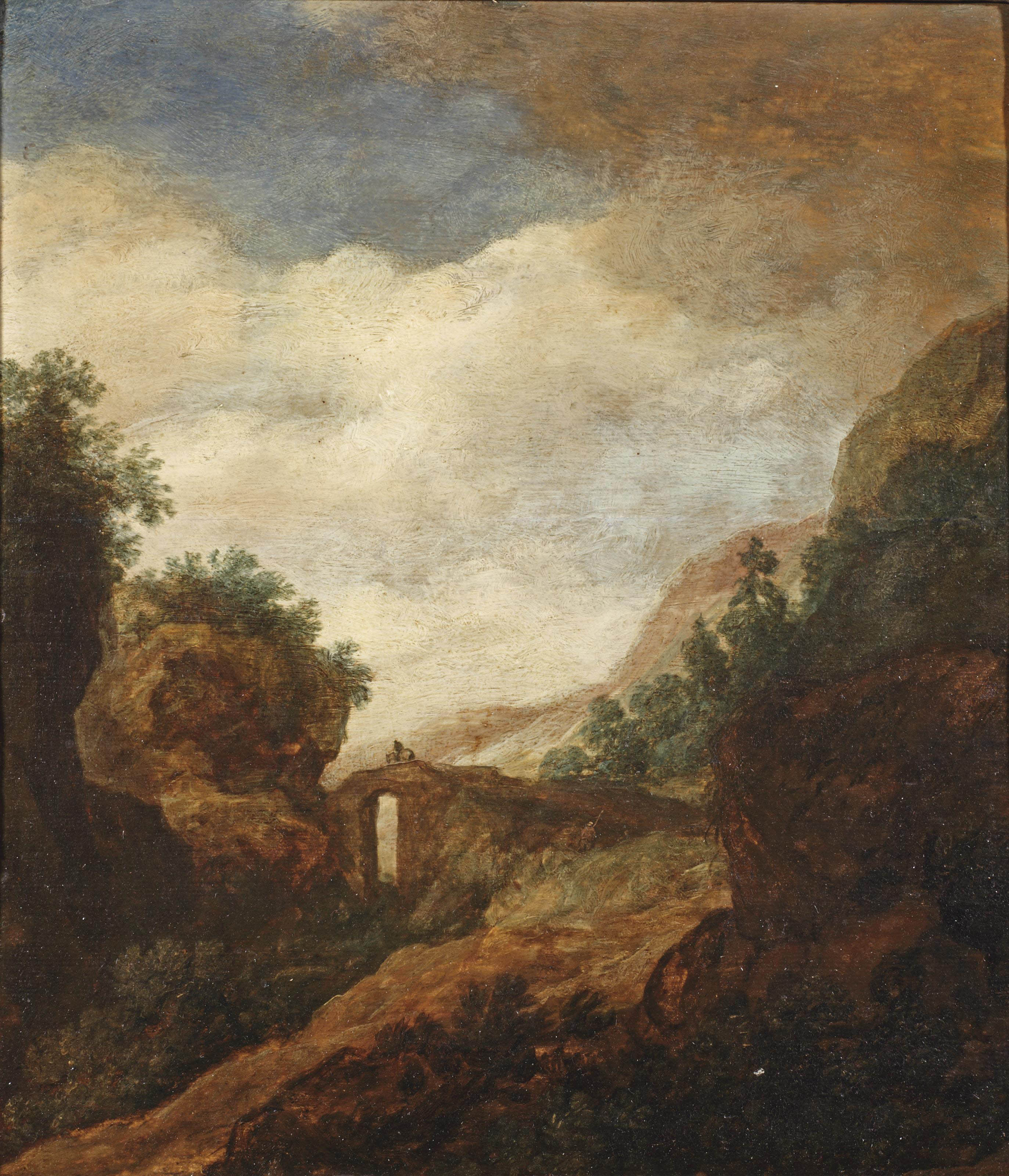 A landscape with a horse rider on a bridge