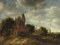 The outskirts of a Dutch town with cottages and a castle, a church and a windmill beyond
