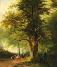 Figures with cattle on a path in a forest