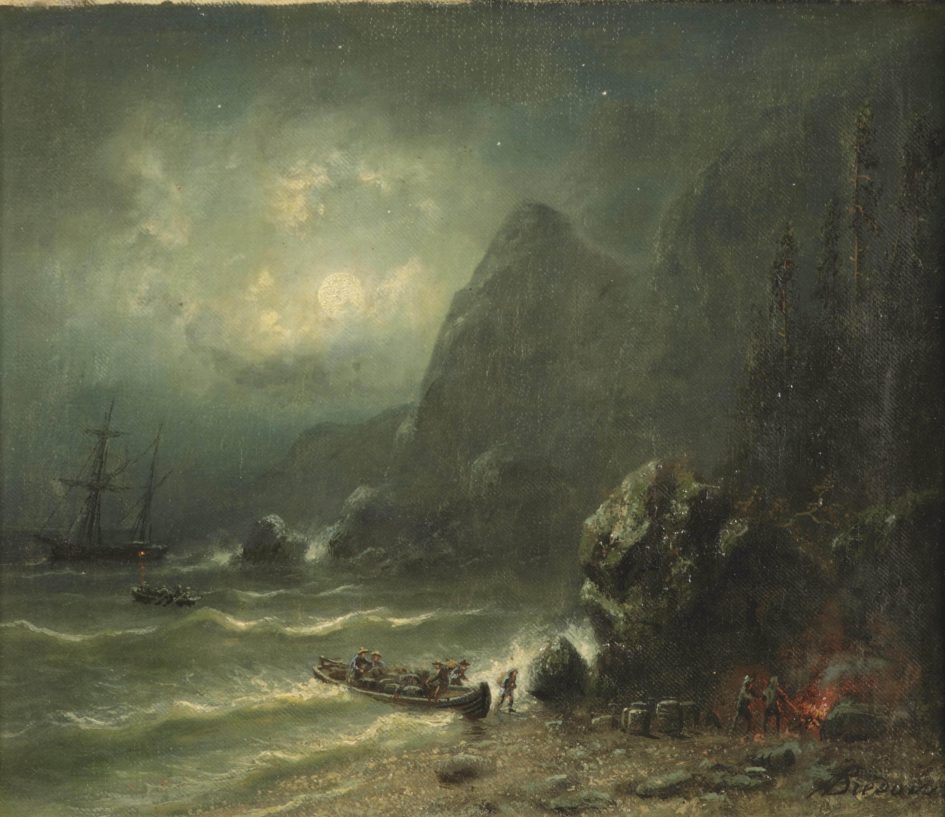 Unloading a ship on a seashore by moonlight