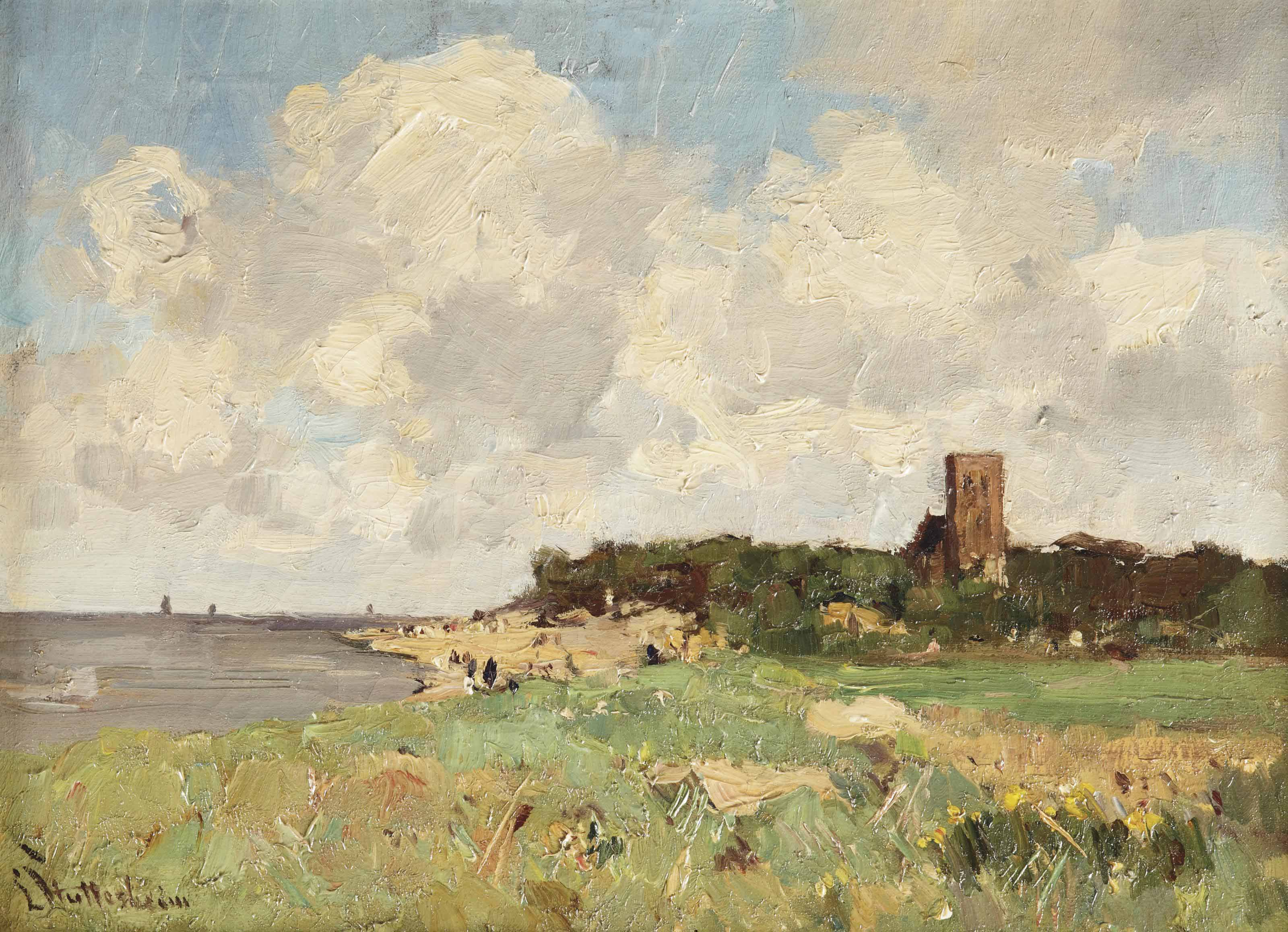 A view of former seaside resort Muiderberg by the Zuiderzee