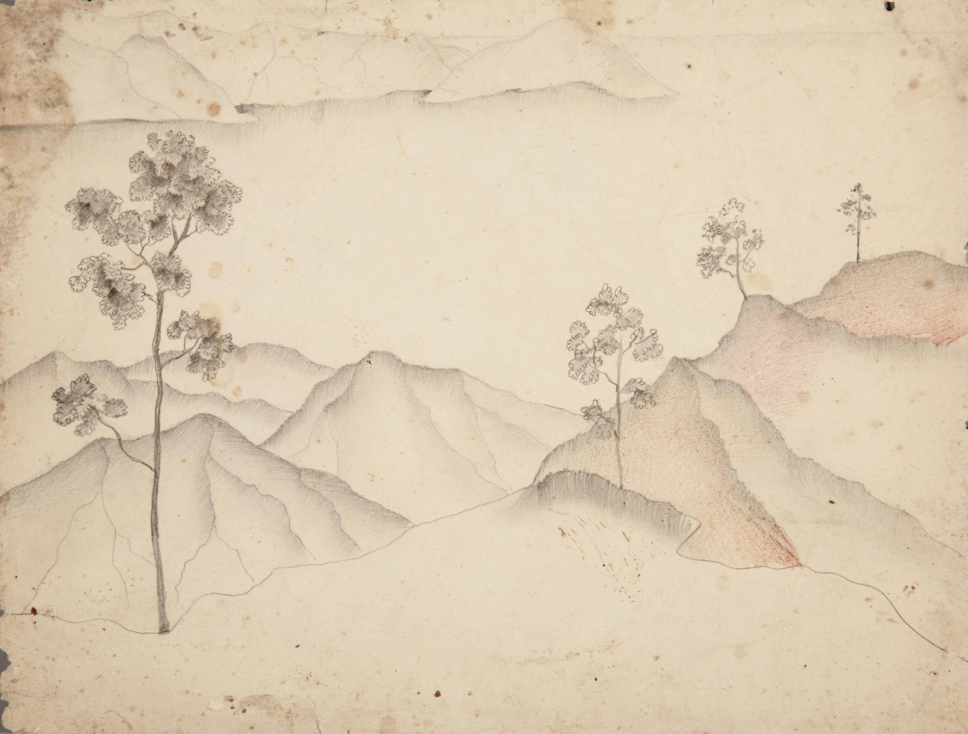Balinese landscape (recto) - Study for seated man (verso)
