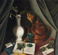 A still life with a vase, a kettle and a glass