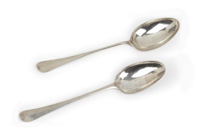 Two Dutch silver serving spoon