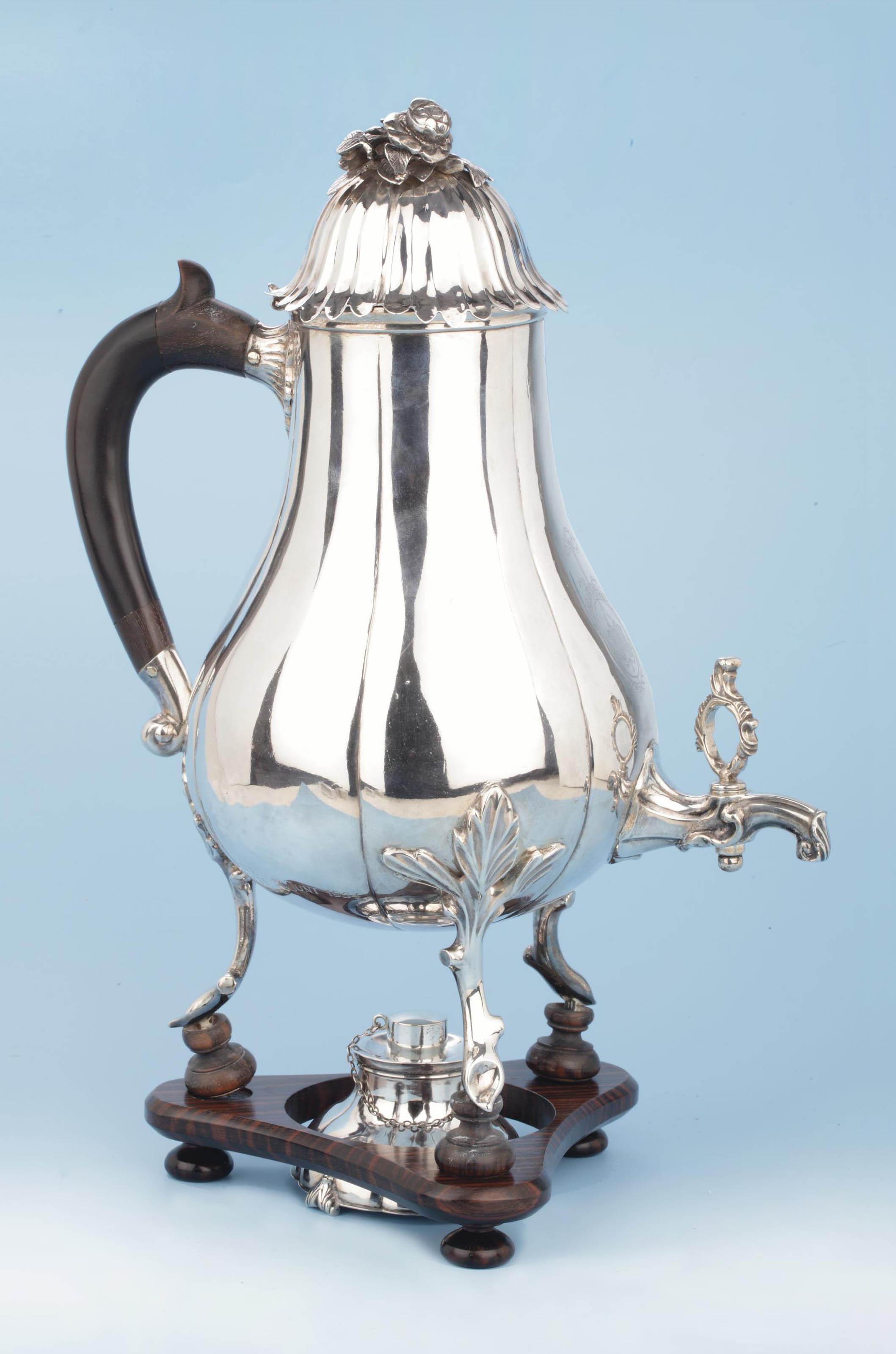 A Dutch silver coffee-urn and burner
