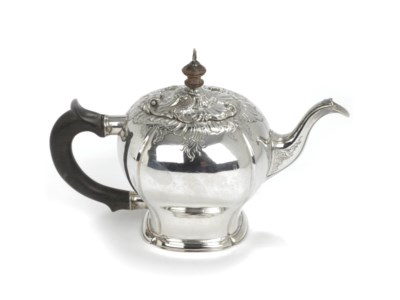 A Dutch silver teapot and cove