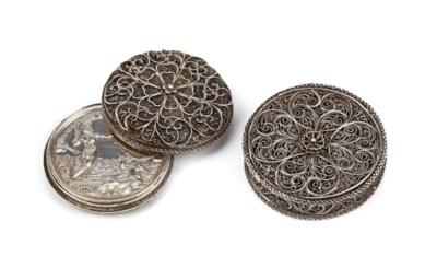 Two Dutch silver marriage boxe